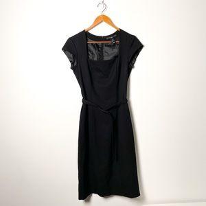 H&M Black Structured Cinched Belted Dress